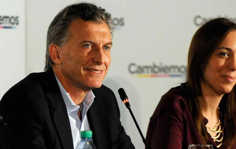 The president elect Mauricio Macri next to Maria Eugenia Vidal governor elect of the most important and decisive electoral district in Argentina