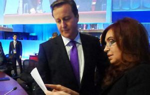 In 2012 president Cristina Fernandez and Cameron clashed at a G20 summit after she tried to hand him a package of papers relating to the Falklands