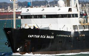 Capitan Oca Balda incorporated in 1983 and ordered from Germany, together with Dr. L Holmberg were involved in joint scientific cruises with Falklands