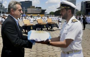 """Some time has gone by since the Navy last incorporated new units. This is significant for what it means to the Navy's spirit"", said minister Agustín Rossi. during the ceremony"