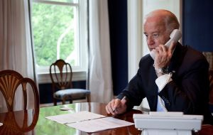 "US Vice-president Joe Biden phoned Macri last Saturday and the ""the two leaders agreed to deepen relations between the US and Argentina"""