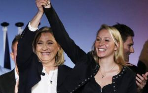Marine Le Pen and her 25-year-old niece Marion Marechal-Le Pen broke the symbolic 40% mark in their respective regions, shattering previous records