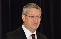 Mr. Andrew Rosindell MP, addressing FIA's AGM (Photo by P Pepper)<br />