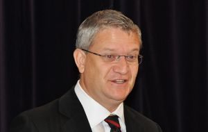 Mr. Andrew Rosindell MP, addressing FIA's AGM (Photo by P Pepper)