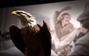 "The bold eagle model with the message ""with best wishes from Ronald Reagan"", was sold at £266,500 after a flurry of bidding in person, online and by phone."