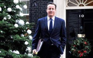 "On the Falkland Islanders right to self determination, ""my government remains unmovable"", said PM Cameron in his Xmas message"