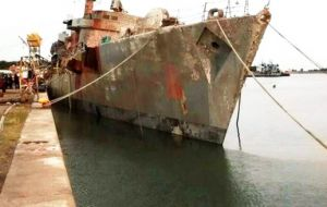 The refloated vessel which the Argentine navy wants to convert into a museum dedicated to the 1982 events