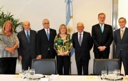In the picture six of the ministers that attended the event at the ministry with Susana Malcorra at the center