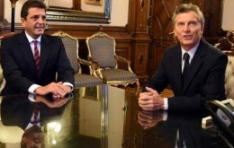 President Macri with Renewall Front leader Sergio Massa during a meeting in Government House, Casa Rosada