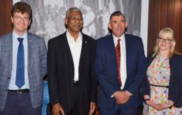 UK High Commissioner Greg Quinn; President David Granger, MLA Ian Hansen and Ms. Ormond, PR and Media Manager, Falkland Islands Government