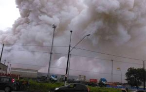 According to the Sao Paulo Port Authority, a fire that flared shortly after the leak began spread to 12 other containers carrying chemical products at the terminal.
