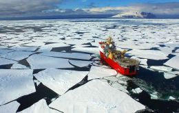 The Ice Patrol breaking ice while sailing in the Ross Sea, and among other duties conducted CCAMLR inspections