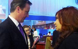 Tensions between the two leaders peaked in 2012 at a G20 summit after Cristina Fernandez tried to hand Cameron papers relating to the disputed Islands