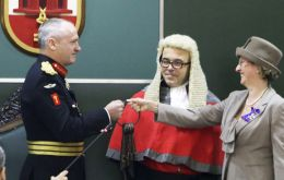 Lt-General Davis was formally sworn in and the Keys to Gibraltar were surrendered to him by Acting Governor Alison Macmillan (Pic Governor Davis accepts the Keys to Gibraltar.(Pic © HM Government of G