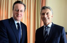 The UK government said three areas were covered in the talks between PM Cameron and Argentine president Macri