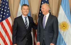 While in Davos, Macri had a long conversation with US vice-president Joe Biden as part of the new bilateral atmosphere.