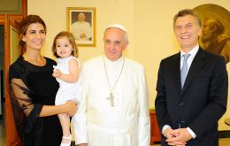 The first time Francis met with Macri was in 2013 when he was the mayor of the City of Buenos Aires. He attended his wife Juliana Awada and daughter Antonia.