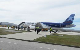 A LAN aircraft, Airbus 320, with 150 seats, makes one return trip to the Faklands a week from Santiago, Chile via Punta Arenas