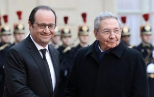 Castro was formally welcomed under the Arc de Triomphe before being driven down a virtually deserted Champs-Elysees avenue decked out in Cuban flags.