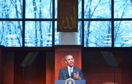"""We have to understand that an attack on one faith is an attack on all our faiths,"" Obama said at the mosque in Catonsville, Maryland, outside Baltimore."