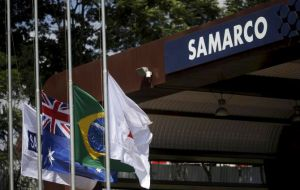 Samarco is a 50-50 iron ore joint venture between Brazil's Vale and Australia's BHP Billiton.
