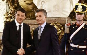 """We are focused in trade and getting new investments, in renewable energy, in railways. We want Italian companies to invest in Argentina,"" said Macri"