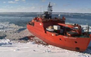The Australian Antarctic Division said 80 mph blizzards are whipping the area, and they are waiting for better weather before rescuing its expeditioners and crew.