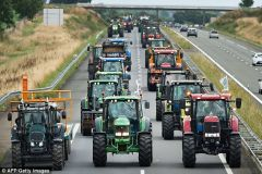 French farmers continue with demonstrations across the country, using their tractors to block traffic to burning egg boxes and hurling wellies at buildings.