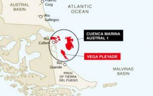 Vega Pleyade development consists of a wellhead platform in 50m water depth, tied back via offshore pipeline to the Rio Cullen and Cañadon Alfa onshore facilities