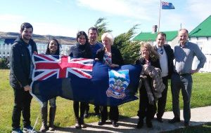 The group of Brazilian visitors with MLA Phyl Rendell and Michael Poole MLA in Stanley
