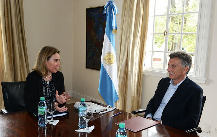 """I can assure you that we are going to renew that relation with Argentina with speed and determination"", said Federica Mogherini in Buenos Aires."