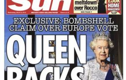 "Under the headline ""Queen backs Brexit"", The Sun quoted unidentified sources as saying that Elizabeth had expressed opposition to British membership of the EU"