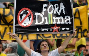 "PMDB's national convention met in Brasilia, with vocal hostility to Rousseff with many members shouting ""Down with Dilma!"" in between speeches."