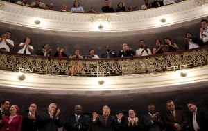 With Raul Castro watching from a balcony at Havana Grand Theater, Obama said the government should not fear citizens who speak freely