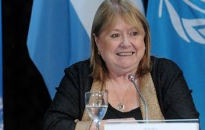 """It's not an issue of discussion with the United States...although we insist on the principle of defending national sovereignty over the Malvinas"" said Ms Malcorra."