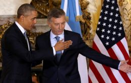 """You are at home,"" Macri told Obama and underlined his ""very important leadership"" in terms of a ""green agenda"""
