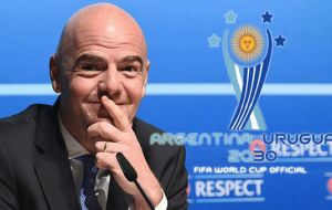 """An important theme is whether the World Cup can be played in more than one country,"" said Infantino. ""I personally support it""."