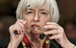 "Yellen said the Fed is monitoring the effects of a global economic slump, lower oil prices and stock market turbulence. Fed will ""proceed cautiously"" in raising rates."