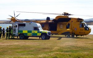 The famous yellow Sea King helicopter, which has served the Falklands for over three decades during a recent evacuation