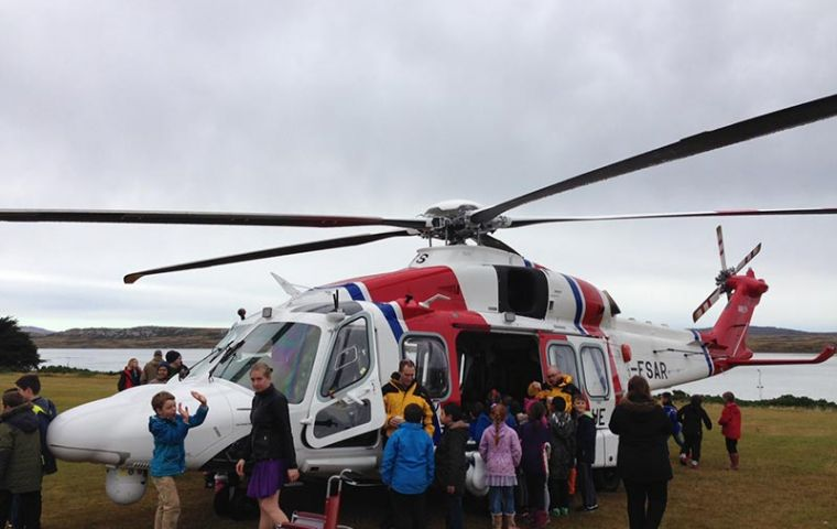 The local community came to meet and greet the new AAR SAR Helicopters and crew who will replace the RAF Sea King Helicopters.
