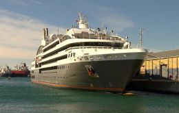 French cruise L'Austral, sister vessel of Le Boreal docked in Gibraltar with 264 passengers