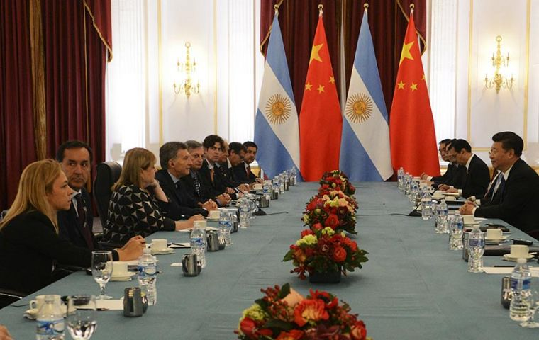 The meeting of the two delegations headed by presidents Macri and Xi Jinping in Washington