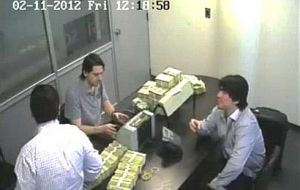 "The video which shows his son Martin and other associated counting millions of dollars during the Kirchner ""clamp"" years in a ""cave"""