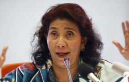 Maritime and Fisheries Minister Susi Pudjiastuti said her agency sank 10 Malaysian and 13 Vietnamese boats that were caught fishing illegally in Indonesian waters.