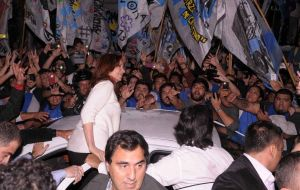 According to Buenos Aires media reports the welcome rally was organized by her son, Maximo's grouping La Campora