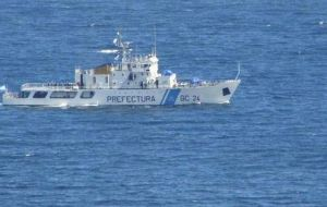 Argentina's Coast Guard reported that Union Sur, belonging to Emdepes SA, had sailed from Punta Arenas bound for the Falklands with British (Falklands) license.