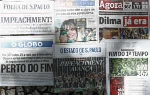 """Impeachment!"" was the celebratory front-page headline of Folha de Sao Paulo daily on Monday. ""Close to the end,"" said another leading newspaper, O Globo"