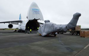 The new helicopters were prepared at BIH's Newquay base and transported to the Falklands on a giant Antonov AN124, the world's largest aircraft