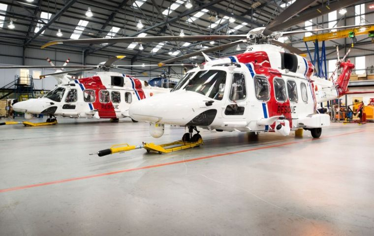 Two new AW-189 helicopters customized by Finmeccanica were sourced to meet the requirements set out by the UK Ministry of Defense for S&R operations