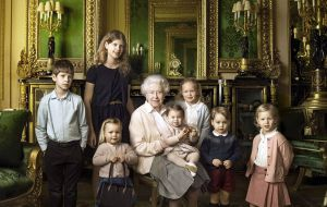 A photograph was also released showing the monarch with young members of the Royal Family: her five great-grandchildren and her two youngest grandchildren.